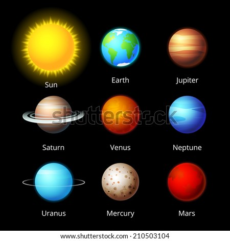 vector planets icons collection