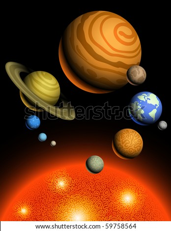 Vector Planets of Solar System