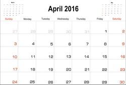 Vector planning calendar  April 2016