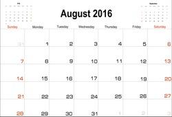 Vector planning calendar  August 2016