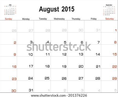 Vector planning calendar August 2015