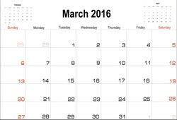 Vector planning calendar  March 2016