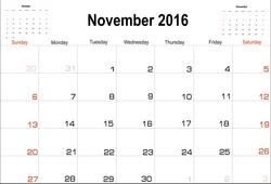 Vector planning calendar  November 2016
