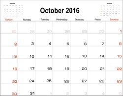 Vector planning calendar  October 2016