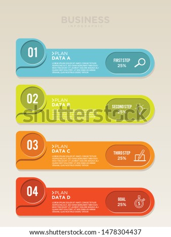 Vector planning for infographic label template with icons and 4 options or steps. Colorful vector design infographic for your best business. Vector illustration EPS.8 EPS.10