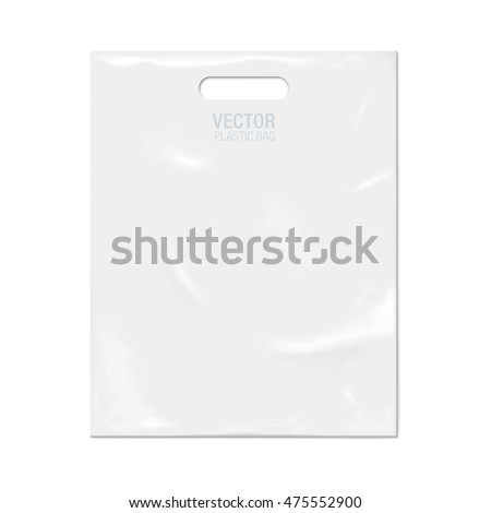 Vector plastic bag isolated on background. White plastic bag realistic mockup.
