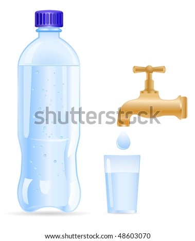 vector plastic bottle with tap