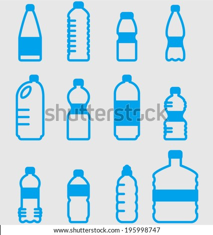 vector plastic bottles set - Separate layers for easy editing