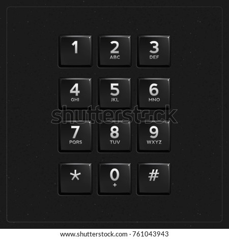 Vector Plastic Keypad. Phone keypad buttons template