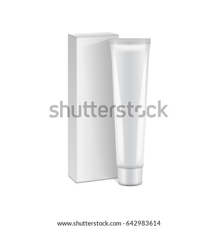 Vector plastic tube with white box for medicine or cosmetics - cream, gel, skin care, toothpaste. Packaging mockup template for your design