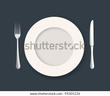 Vector Plate Knife and Fork Set