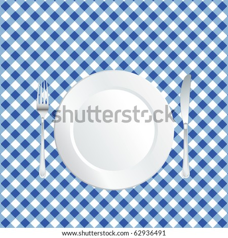 vector plate on blue square tablecloth