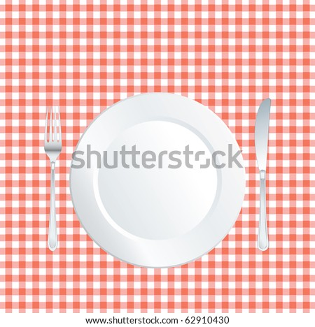 vector plate on red square tablecloth