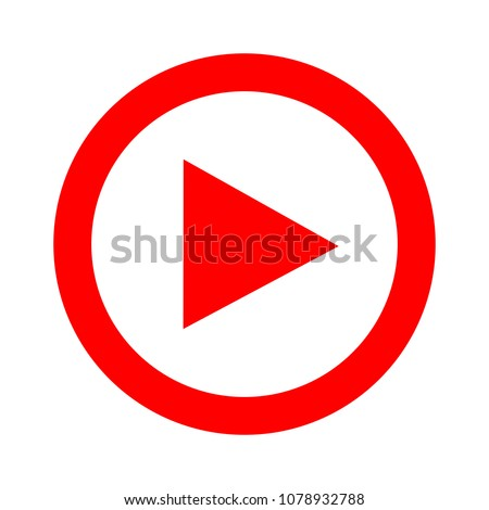 vector play button icon - media symbol - start music or play video
