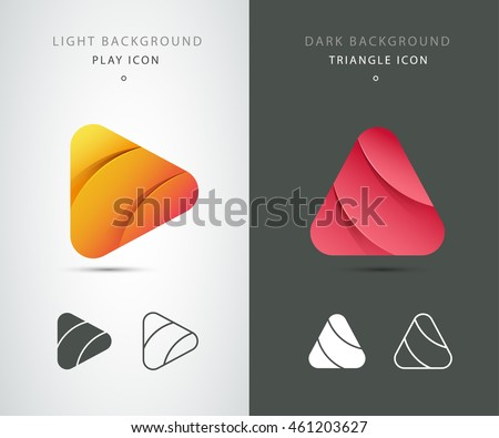 Stock Photo Vector play triangle, forward arrow template. Modern logo icon set. App icon, web elements. Line and simple icon design elements. Isolated on a dark and light background. Material design. Android, iOS