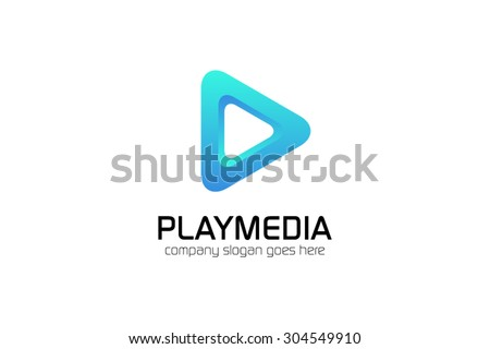 Vector playmedia symbol, logo template. Brand, branding, corporate, identity, logotype, company. Clean and modern style