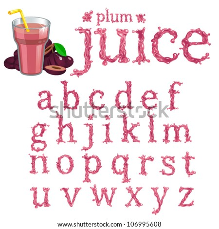 Vector plum juice serif font, abc a-z