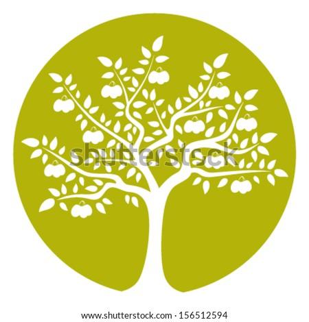 vector plum tree isolated on