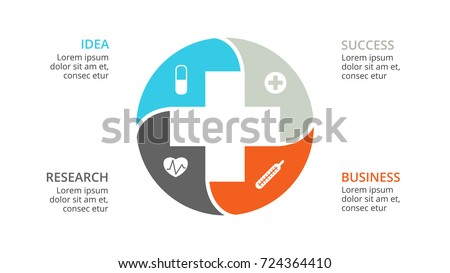 Vector plus infographic, medical diagram, healthcare graph, hospital presentation, emergency chart. Medicine doctor logo. Concept infographics with 4 options, parts, steps, processes.