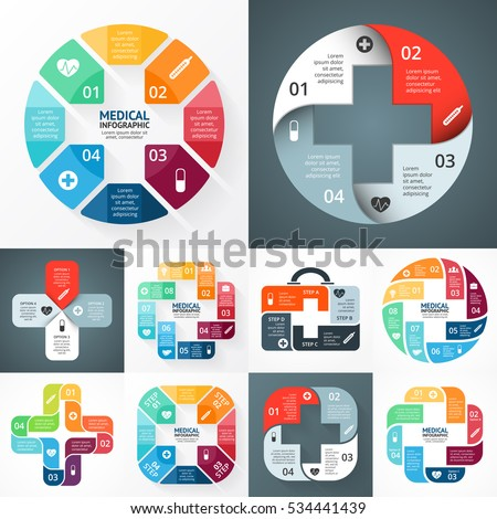 Vector plus sign infographic, medical diagram, health care graph, hospital presentation, emergency chart. Medicine doctor logo. Concept with 4, 8 options, parts, steps, processes. First help symbol.