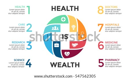 Vector plus sign infographic, medical diagram, healthcare graph, hospital presentation, emergency chart. Medicine doctor logo. Conceptual infgraphics with 8 options, parts, steps, processes.