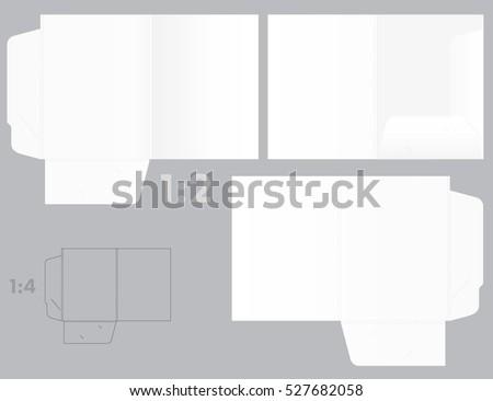 Vector pocket folder die cut template mockup - 225mm width - 305mm height