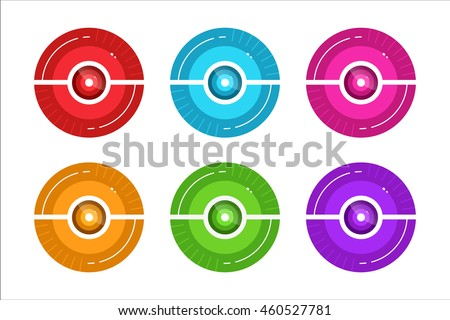 vector pokeball icon set for