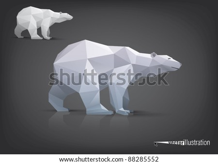 Vector polar bear stylized triangle polygonal model