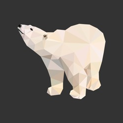 Vector polar bear stylized triangle polygonal model. Low poly design.