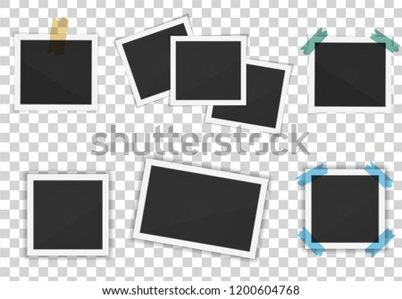 Vector Polaroid paper frames pack isolated on transparent background
