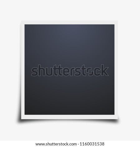 Vector polaroid photo frame mockup design. White border on a white background