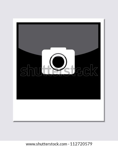 Vector polaroid photo on gray background. Eps 10