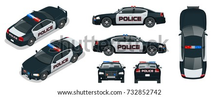 vector police car with rooftop