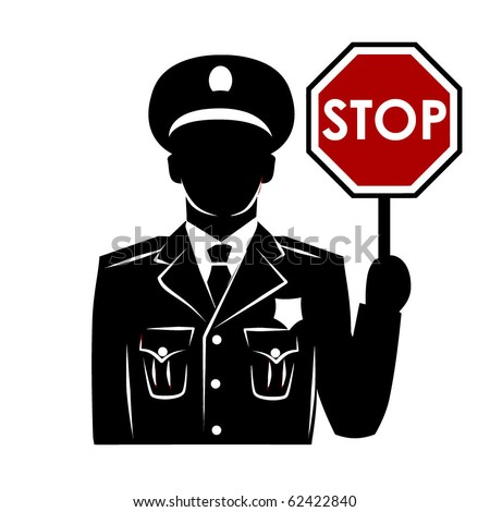Vector policeman silhouette with stop sign