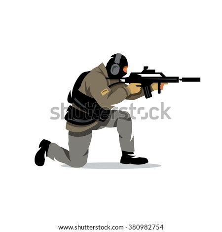 vector policeman tactical shoot