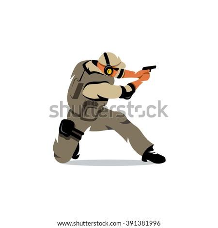 vector policeman tactical shoot