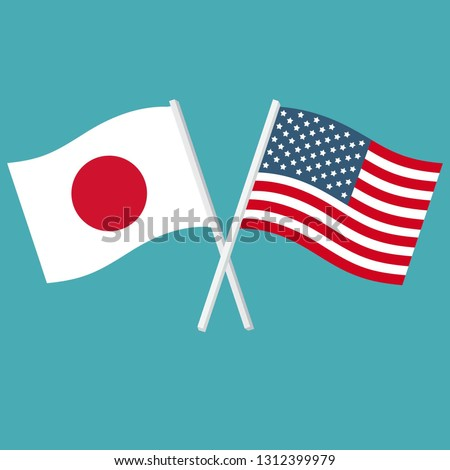 Vector political icon of flags of Japan and the USA. The flags of Japan and the United States of America are crossed and swaying in the wind. Illustration of flags in flat minimalism style.
