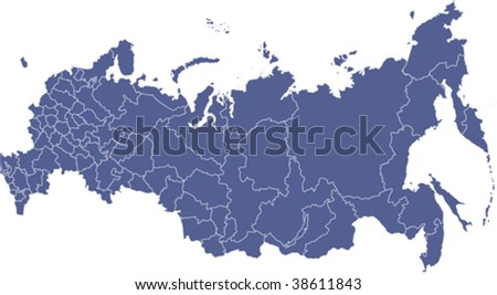 Vector political map of Russia with districts