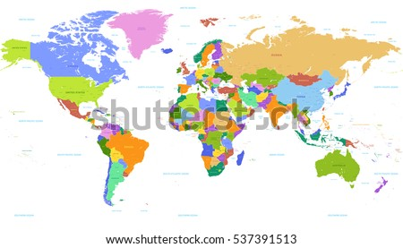 vector political world map with