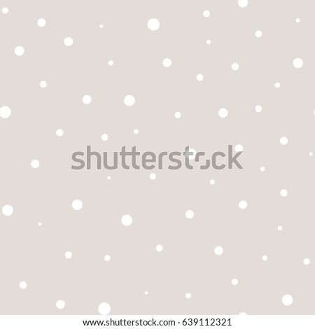 Vector polka dot pattern in pastel colors, white, beige. Monochrome dotted seamless texture. Abstract subtle background with randomly scattered different circles. Design for decor, textile, cover, web