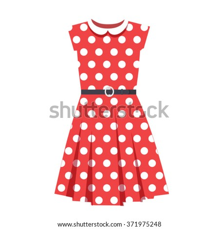 vector polka dot red dress