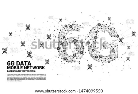 Vector Polygon dot connect line shaped 6G mobile network with antenna tower icon. Concept for telecom technology.