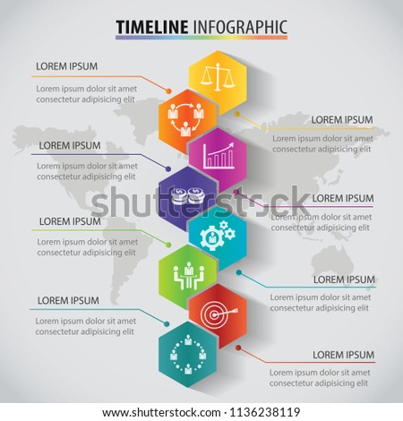 Vector polygon infographic Timeline design template with options. Business concept with 8 options. Template for cycle diagram, graph, presentation and round chart 3D paper label.