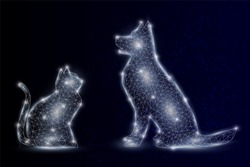 Vector polygonal art style dog and cat. Pet animals low poly wireframe mesh with scattered particles and light effects on dark blue background. Card poster banner design template.