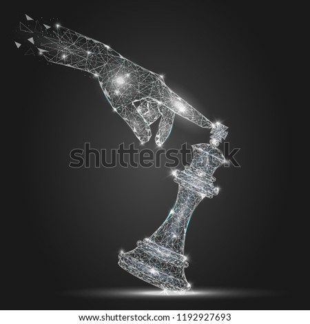 Vector polygonal art style human hand tilting king chess piece. Low poly wireframe mesh with scattered particles and light effects. Checkmate or loss in business concept poster banner design template.