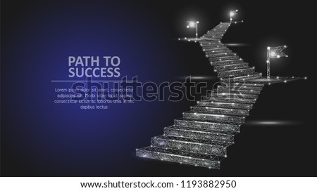 Vector polygonal art style stairway with flags. Low poly wireframe mesh with light effects on dark blue background. Path to success business concept poster banner design template with copy space.