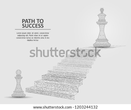 Vector polygonal art style stairway with pawn and king chess pieces. Low poly wireframe mesh. Path to success business concept poster banner design template with copy space.