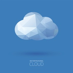 Vector polygonal cloud background.