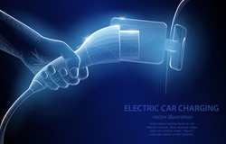Vector polygonal concept, hand connecting charging for  electric car, on a dark blue background, a symbol of smart and eco-friendly transport technologies.
