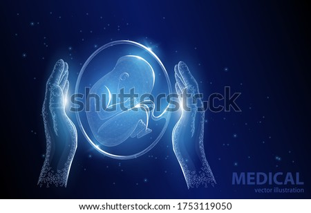 Vector polygonal concept illustration, child in hands, on dark blue background, child protection symbol, medicine, pharmacology, genetic engineering.